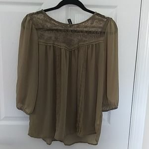 Divided olive green sheer  blouse
